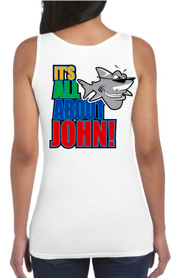 It's all about John! ladies square cut tank top - John the Shark